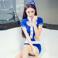 Wholesale Ladies Hot Adult Lingerie - 2017 Women Hot Sexy Lingerie Costumes Sexy Underwear Ladies Temptation Sexy Air Airline Stewardess Halloween Costume for Adults