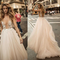 Wholesale Apple Beach - 2017 Sheer Sexy Berta bridal champagne summer wedding dresses backless deep v neckline A-line bridal gowns heavily embellished bodice