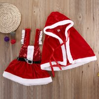Wholesale Thick Baby Costumes - Wholesale- 2pcs set Baby Girls Clothes sets Party Santa Dress Faux Fleece Cloak Coat Outwear + thick baby dress Christmas Costume