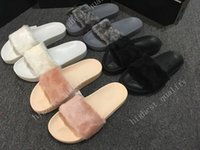Wholesale Straw Bags Women - (With Box+Dust Bag) Wholesale Rihanna fenty Slippers,Rihanna Fenty LEADCAT Fur Slide Slippers Black Slides Women Sandals Rihanna fenty Slide