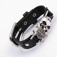 Wholesale Men Wide Leather Bracelets - 2017 Rider Harley Motor Cycles Punk Skull Rivet Men Bracelets Wide Leather Bracelet Retro Cuff Rivet Bangles Cowboy