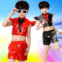 Wholesale Girls Stage Wear - 2PCS Children's Day Popular Modern Jazz Dance Costume Girl Stage Wear Hip Hop Boy Clothing and Shorts Wholesale Free Shopping