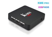 Wholesale Android Support Flash - Fast 2GB RAM 16GB Flash Octa core Kdi fully loaded Media Player S912 Android TV Box KM8 pro support dual band Wifi Bluetooth4.0