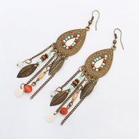 Wholesale Fashion Earrings India - European Fashion Jewelry Mental Retro Muti-colored Earring Elliptical Tree Leaves Exaggerative Alloy India Stylen Tassel Earrings