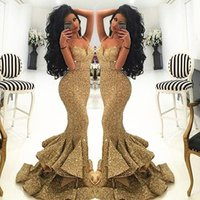 Wholesale blue white dress bling online - 2019 New Vintage Bling Gold Sequins Mermaid Long Prom Dresses Spaghetti Open Back Split Sweep Train Formal Evening Gowns Pageant Dress