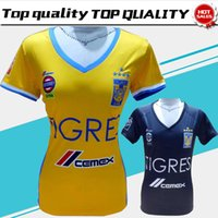 Wholesale Girl Shirt Star - Women Tigres UANL home Yellow Soccer Jersey 17 18 five stars Tigres female away black Soccer Shirt Customized girl football uniform Sales