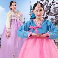 Wholesale Green Carnival Costumes For Sale - Hot Sale 2017 Green Long Sleeve Flowers Pattern The Korean nation Tradition Hanbok Costume For Women