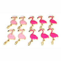 Wholesale Diy Rose Accessories - 500pcs 17*28mm diy jewelry accessories gold-tone alloy pink rose red enamel animal Flamingo charms pendant for bracelet CH0120