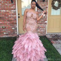 Wholesale Girls Feather Jacket - Luxury Feathers Mermaid Prom Dresses 2017 Sheer Scoop Neck African Dresses Evening Wear Applique Lace Long Floor Length Girls Pageant Gowns