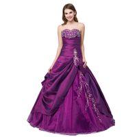Wholesale Embroidered Organza Taffeta - Sweetheart Purple cheap prom dresses Ball Gown Taffeta Organza prom dresses long Lace Up Embroidered Girl's Pageant Dress