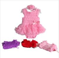 onesies rizados niña al por mayor-7 Estilos Baby Girls TuTu Rompers Set (Diadema de flores + Ruffle Romper) Infant Toddle trajes de una pieza Trajes de bebé Monos Niños Niños Ropa de niños