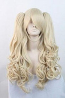 Frete GrátisNew Lolita Long Blonde Halloween Cosplay Party peruca encaracolado Full + 2 Ponytails