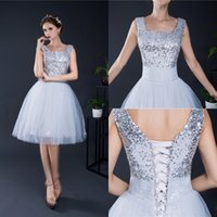 Wholesale Square Dances Dresses - 2017 Short Homecoming Dresses for Summer 8th Grade Dance Back to School Sweet Sixteen Graduation Teens Fashion Silver Ball Prom Gowns