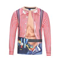 Wholesale Funny Vintage Shirts - Vintage Striped Rompers 3D Printed T-shirt Long Sleeve Fake 2 pieces Funny Fashion Male Shirts Autumn Tops Tee BL-106