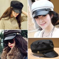 Wholesale navy sailor cap - Retro Navy Cap Fashion With Metal Buckle Decoration Hat Adults Sunshade Hats For Men And Women 9 5bd B