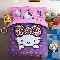 pisi seti pamuk toptan satış-Pamuk Yatak Setleri Karikatür Hello Kitty 4 adet Yatak Seti Nevresim Çarşaf Yastık Yumuşak Ve Rahat Kral Kraliçe Boyutu
