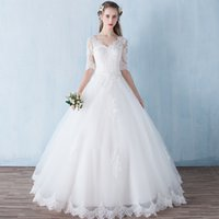 Wholesale Empire V Neck Dresses - Capped V Neck Tulle Wedding Dress With Appliques 2018 Lace Bridal Gowns Lace Up Wedding Gowns
