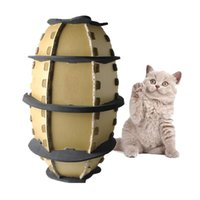 Wholesale Green Corrugated - New type corrugated paper Rugby cat scratch board football cat paper box pet toy free shipping