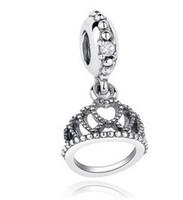 Wholesale Silver Queen Crown - Wholesale 10pcs Queen Crown Pendant Charm Silver European Charms Bead Fit Pandora Snake Chain Bracelet Fashion DIY Jewelry Xmas