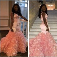 Wholesale long party dresses teens - 2017 Pink Mermaid Prom Dresses Long V Neck Tank Straps Sleeveless Ruffles Teens Formal Prom Party Gowns Custom Made Elegant
