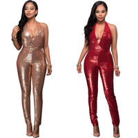 Wholesale Red Elegant Jumpsuits - Women Sexy Bodycon Summer Jumpsuits Solid Sleeveless Backless Sequins Skinny Slim Outfit Nightclub Party Elegant Stylish Jumpsuit