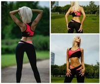 Wholesale Sequin Short Bra - Women Fitness Tracksuit Patchwork Padded Bralette Bra Top And Elastic Legging Capris Pants Set Women Workout Clothes MTL170730