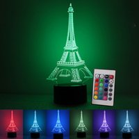 Nuovo aggiornamento 3D Romantico Francia Torre Eiffel Telecomando LED Night Light RGB Variabile Mood Lampada Lampada da letto Kids Friends Family Gifts