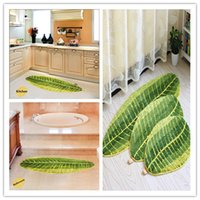 Wholesale Oval Carpets - High Quality Green Leaf Stripes Bedside Carpets Entrance Hall Feet Oval Door Mats Water Intake Skid Mats