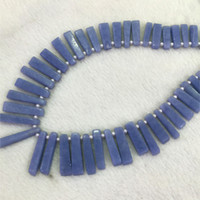 Wholesale Stick Spikes - Discount Wholesale Natural Genuine Blue Angelite Top Drilled Tooth Shape Spike Stick Loose Stone Beads Fit Jewelry DIY Necklaces 04305