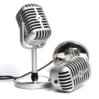 Wholesale Personalized Microphones - New Arrival Wholesale 3.5mm Stereo Retro Microphone Classic Vocal Mic Studio Record For PC Laptop Computer Personalized Free Shipping