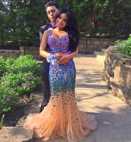 Wholesale Red Full One Piece Dress - Luxury Full Rhinestone Beaded Sweetheart Mermaid Prom Gowns 2017 Party Dress for Graduation Two Piece Prom Dresses
