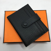 Wholesale Ladies Card Holder Cases - Genuine Leather Credit Card Holder Wallet High Quality Classic Brand Designer Men Women Purse 2017 New Fashion Business ID Holder Card Case