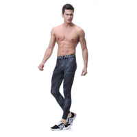 Wholesale reflective running pants - Brand Men's Sports Compression Leggings Tights Running Pants Elastic Tights Run Fitness Active GYM Reflective pants Clothing