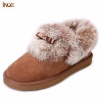 Wholesale Wedge Ankle Wool Boots - INOE fashion real sheepskin leather wool fur short ankle women winter snow boots for big girls bow knot rabbit fur winter shoes
