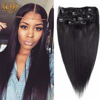24 black hair extensions toptan satış-7A İnsan Saç Uzantıları Düz Klip Perulu Düz İnsan Saç Uzantıları Klip 10 adet / takım Siyah Saç Uzantıları Için 200g