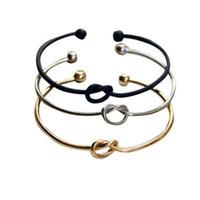 pulsera de nudo negro al por mayor-Nueva joyería de moda anudada pulseras del corazón para las mujeres ajustables brazalete pulsera abierta oro plata negro