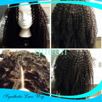 Wholesale Long Brown Braided Wig - Long Kinky Curly 1b synthetic Lace Wig For Black Women High Quality braided synthetic lace front wig curly with baby hairs