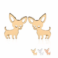 Wholesale Gold Earrings For Babies - New Chihuahua Baby Dog Earring Copper Materia Fashion Studs Earrings Accessories Jewelry For Kids Grils Women EFE069