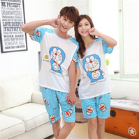 Wholesale Summer Lovers Sleepwear - Wholesale- New Summer Doraemon Cartoon Lovers Cute Women Men Couple Short Sleeve 2PCS Pajama Sets Milk Silk Casual Clothes Sleepwear