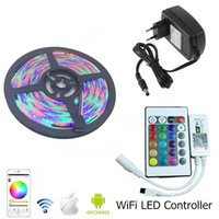RGB impermeabile 3528 Led strisce strisce set 5m luce Wifi LED Controller Android / IOS Mini + 24Key IR Remote + Power Supply