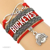 Wholesale Football Team Charms - Custom-Hot Infinity Love Ohio State Buckeyes Team Football Bracelet Braided Rope Leather Adjustable Bangles For Football Fans-Drop Shipping