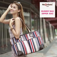 Wholesale Chromatic Fashion - Diaper bag waterproof nappy bag Chromatic stripe outdoor stroller travel Tote Shoulder mommy bag New fashion Mes Enfants