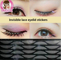 Wholesale Double Eye Sticker - Wholesale-Invisible lace eyelid stickers Eyes became bigger safe invisible double eyelid tape sex products double eyelid M782