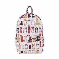 Wholesale Laptop For School Wholesale - Wholesale- Fashion Women Canvas Backpack Cute Cartoon Dog Printing Backpacks Laptop Backpack for Teenage Girls School Shoulder Bag