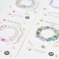 Wholesale Adhesive Memo Pad - 36 Pcs Lot Flower Wreath Sticky Note 30 Sheet 70mm Watercolor Floral Memo Pad Stationery Office Accessories School Supplies