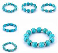 türkis steine bestellen großhandel-Freies Verschiffen runde Perlen Türkissteinhandgemachtes wulstiges Armband FB322 Mischungsauftrag 20 Stücke viel wulstige, Stränge