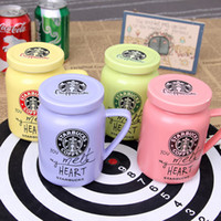 Wholesale pink cups mugs for sale - Group buy Ceramic Coffee Cup With Lid Starbuck Original couple Coffee Cup Fashion Mug quality Gift fast shipping