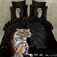 Wholesale Duvet Cover Set Tiger - Wholesale Black 3D Tiger Bedding Sets Animal Duvet Cover Bedclothes High quality Bed Set Flat Sheet Pillowcase Queen size Bed Line Home Text