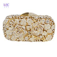 Wholesale Crystal Rose Evening Handbag - Wholesale-LaiSC Luxury crystal clutch evening bag Gold rose flower party purse women wedding bridal handbag pouch soiree pochette SC013