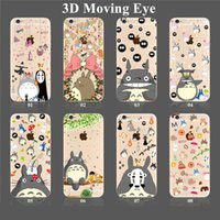 Wholesale Moving Eyes - For iPhone 7 6s Plus SE Samsung S7 S6 3D Eyes Phone Case Fashion Soft Gel Crystal TPU Cover with 3D Moving Eyes